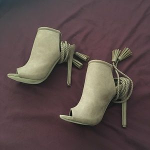 Taupe faux suede gladiator style sandals